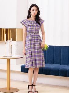 2019布根香女装紫色格子裙