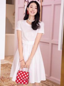 2019布根香夏新款白色连衣裙