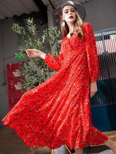 飞范女装红色优雅长裙