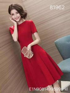 雨珊女装红色礼服连衣裙