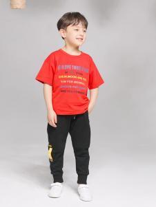 淘淘貓童裝新款紅色T恤