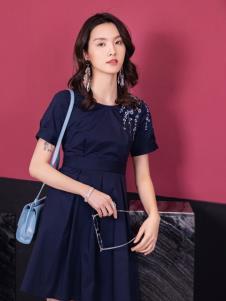 2019布根香女装蓝色连衣裙