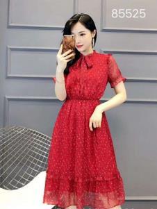 雨珊女装红色纱裙