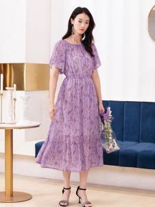 2019布根香女装紫色蕾丝裙