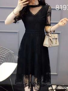 雨珊女装黑色蕾丝裙