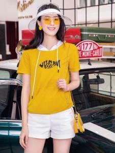 2019布根香女装黄色休闲T恤
