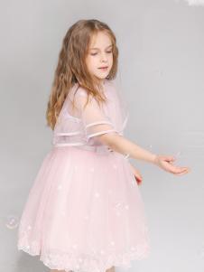 淘淘猫童装新款粉色连衣裙