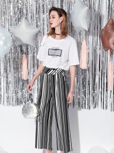 Saslax莎斯莱思新款条纹长裤
