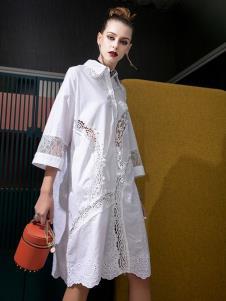 飞范女装白色衬衫裙