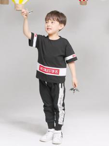 淘淘貓童裝新款黑色T恤