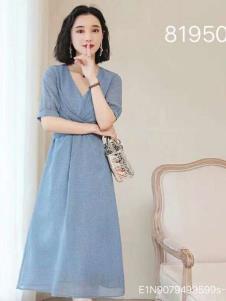 雨珊女装浅蓝色优雅连衣裙
