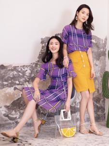 2019布根香女装新款紫色连衣裙