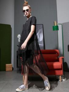 飞范女装黑色休闲纱裙