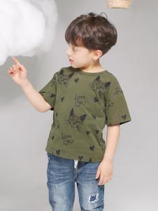 淘淘猫夏季新款军绿色T恤