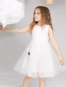 淘淘猫童装新款白色连衣裙