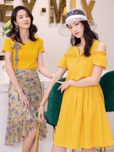2019布根香女装黄色连衣裙