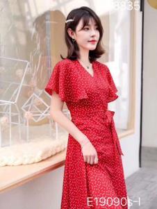 雨珊女装红色优雅连衣裙