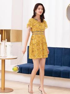 2019布根香女装黄色印花裙