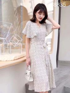 雨珊女装白色波点连衣裙