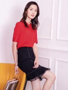 2019布根香女装夏款红色衬衫