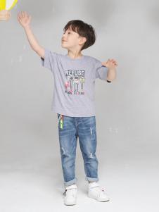 淘淘貓童裝新款銀灰色T恤
