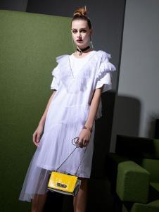 飞范女装白色连衣裙