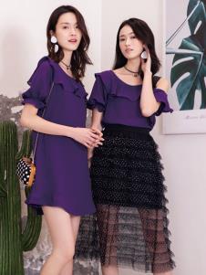 2019布根香女装紫色连衣裙