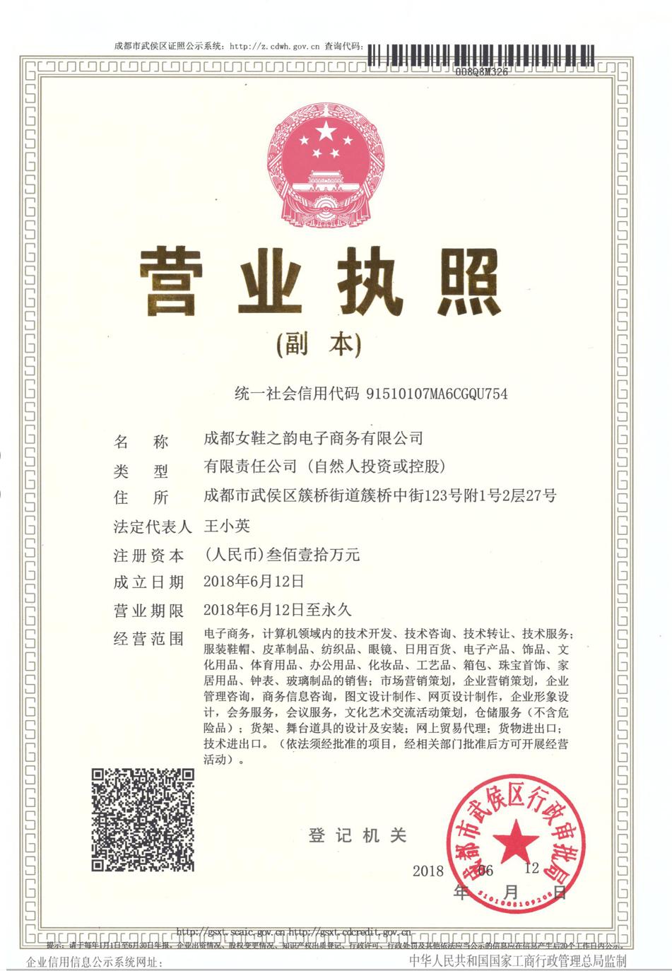 成都女鞋之韵电子商务有限公司企业档案
