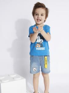 迪士尼宝宝男童蓝色T恤