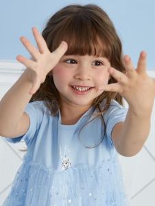 迪士尼宝宝童装迪士尼宝宝女小童蓝色连衣裙