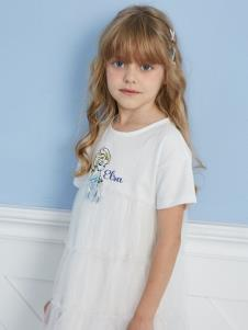 迪士尼寶寶女大童白色休閑連衣裙