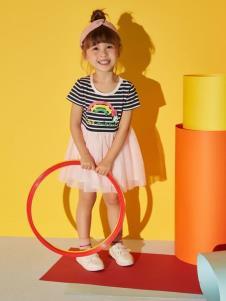 迪士尼宝宝女童条纹拼接连衣裙