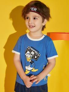 迪士尼宝宝童装男童蓝色T恤
