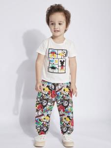 迪士尼宝宝男童白色印花T恤