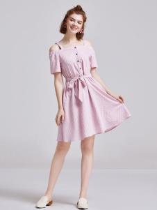 贝珞茵女装2019粉色吊带裙