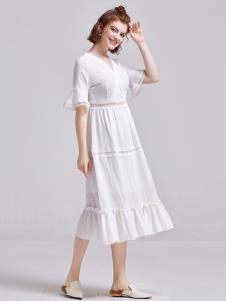 贝珞茵女装2019白色连衣裙