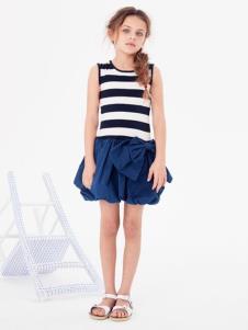 可米芽童装女童条纹拼接连衣裙