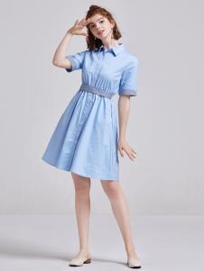 贝珞茵女装2019蓝色衬衫裙