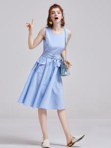 贝珞茵女装2019蓝色连衣裙