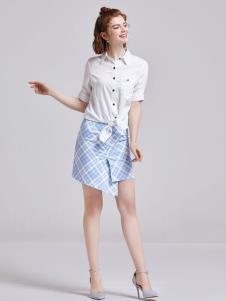 贝珞茵女装2019白色衬衫