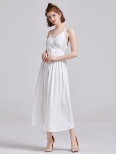 贝珞茵女装2019白色吊带裙