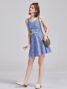 贝珞茵女装2019蓝色吊带裙