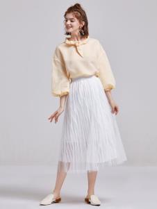 贝珞茵女装2019白色半裙
