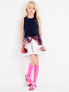 可米芽童装女童可爱拼接连衣裙