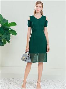 DITTO迪图女装绿色连衣裙