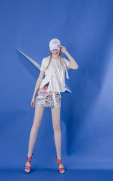 MOOSY白色蝴蝶结绑带T恤