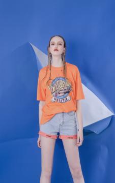 MOOSY橙色印花撞色T恤