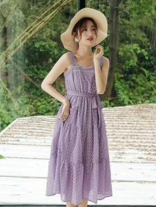 2019碧成萱夏新款紫色连衣裙