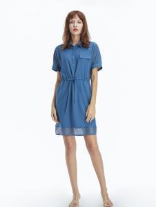 凡恩女装19蓝色衬衫裙