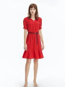 凡恩女装19红色连衣裙